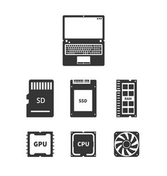 laptop hardware icons vector image
