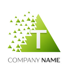 Letter t logo symbol in colorful triangle vector
