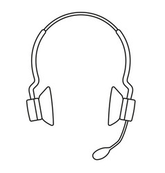 Line art black and white wireless headset vector
