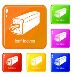 loaf loaves icons set color vector image