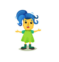 Lovely girl troll with blue hair and yellow skin vector