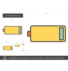 Low battery line icon vector