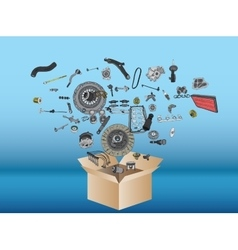 Many spare parts flying out of the box vector image