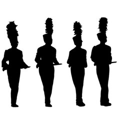 marching band silhouettes vector image