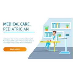 medical care pediatrician doc hospital examination vector image