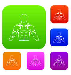 Muscular man with tattoo set color collection vector