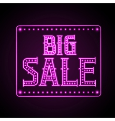 Neon sign big sale vector image