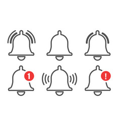 notification bell outline icons set vector image