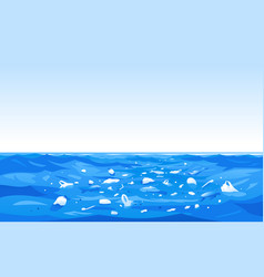Ocean plastics pollution concept vector