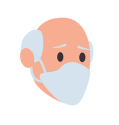old man head with face mask vector image