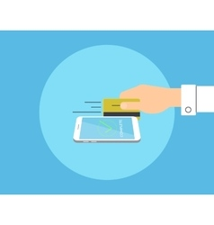 Payment credit card linked to smartphone vector