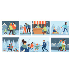 people walking in winter family in wintry park vector image