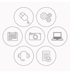 Photo camera headphones and notebook laptop vector