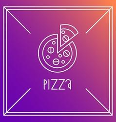 pizza design element Linear style Outline emblem vector image