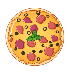 pizza icon cartoon style vector image