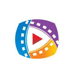 play film media technology logo vector image