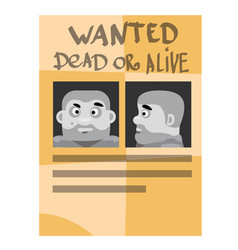 poster wanted criminals on the theme of the wild vector image