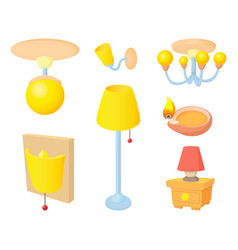 room light icon set cartoon style vector image