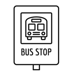 school bus stop sign icon outline style vector image