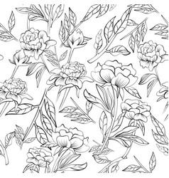 seamless elegant peony pattern vector image