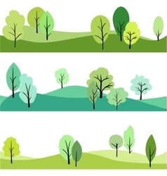 Set landscape with trees vector