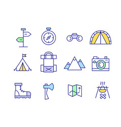 Set line art funny travel camping hiking icons vector