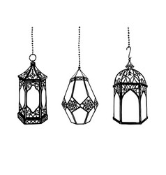 Set of hand drawn arabic lanterns vector