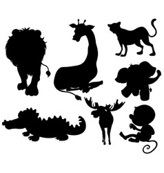 set of silhouette animals vector image