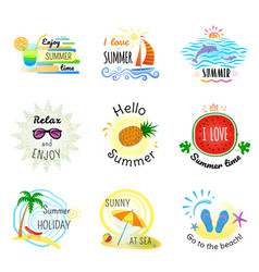 set of summer signs and banners vector image