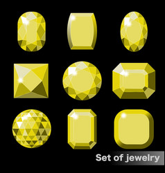 Set of yellow gems topaz of various shapes vector