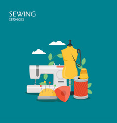 Sewing services flat style design vector