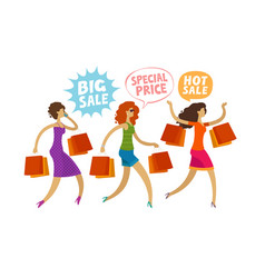 shopping clearance sale fashion concept people vector image