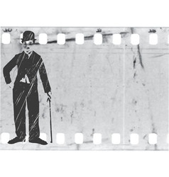 Silhouette chaplin on old film vector