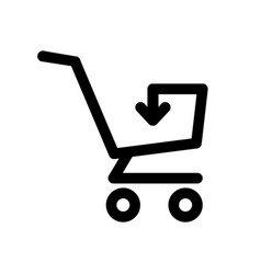 simple shopping cart icon with arrow inside vector image