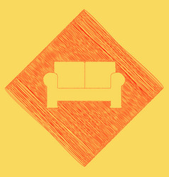 Sofa sign red scribble icon vector