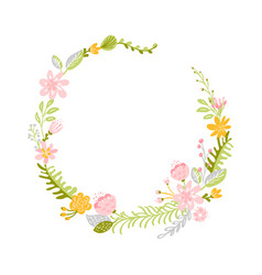 spring flower herbs wreath flat abstract vector image