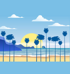 summer sunny tropical backgrounds seascape with vector image