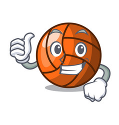 Thumbs up volleyball character cartoon style vector