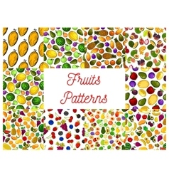 Tropical fruit and garden berry seamless pattern vector image