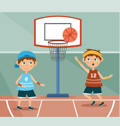 two young children playing basketball vector image