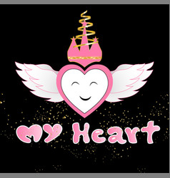 typography slogan with my heart for t shirt vector image