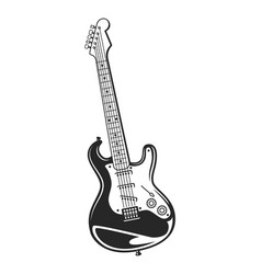 vintage monochrome electric guitar concept vector image