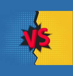 Vs background versus screen design pop art style vector