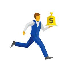 Waiter runs with money bag on a tray vector