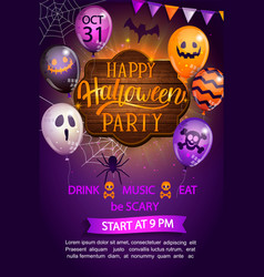 Welcome flyer for happy halloween party vector