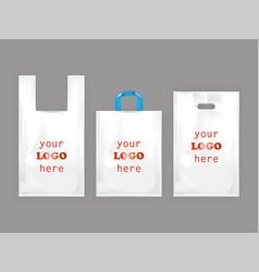 White plastic shopping bags vector