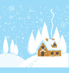 winter landscape with a house on snow-covered hill vector image