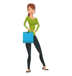 woman holding shopping bag vector image