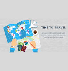 world travel banner wooden background vector image