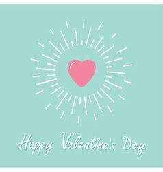 Big pink shining heart Flat design Valentines day vector image